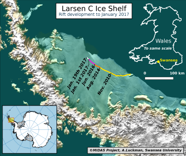 """The current location of the rift on Larsen C, as of January 19 2017. Labels highlight significant jumps. Tip positions are derived from Landsat (USGS) and Sentinel-1 InSAR (ESA) data. Background image blends BEDMAP2 Elevation (BAS) with MODIS MOA2009 Image mosaic (NSIDC). Other data from SCAR ADD and OSM."""